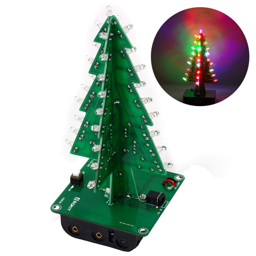 DIY 3D Xmas Tree Electronic Soldering Assemble Kit 7 Color Flashing LED Science School Project Creative Season Gift