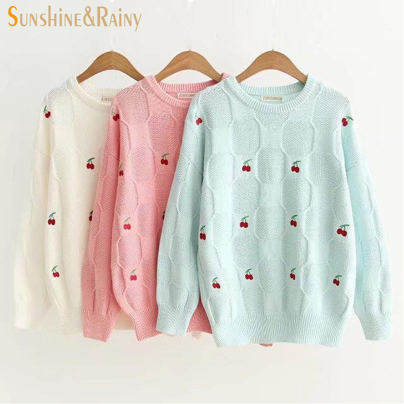 2017 Autumn Winter Women Long Sleeve cherry embroidery Casual Pullover Slim Sweaters  For Girls Pullovers knitted 501430fb4