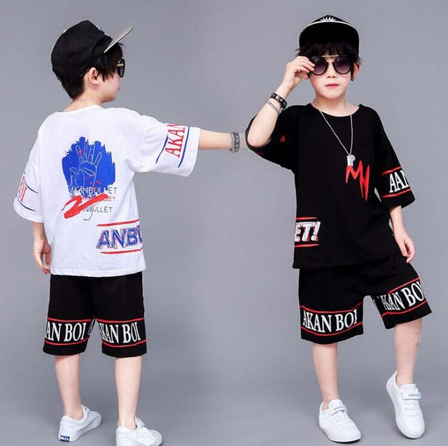 New Summer Children Clothing set Jazz hip hop Dance Show Costumes For Kids Boys Girls Cotton 2pcs Outfits For 6 8 10 12 14 Years