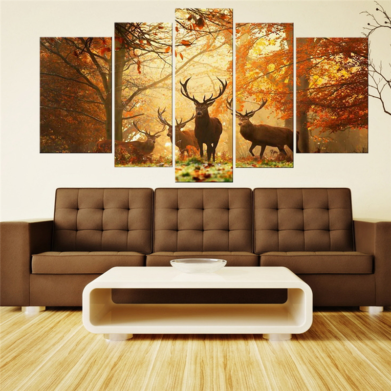Hot sale 5 panels wall art painting deer in autumn forest - Home interior deer pictures for sale ...