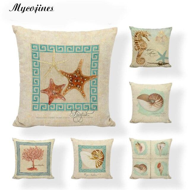 Charmant Ocean Beach Cushion Cover Palm Tree Sea Horse Pillowcase Decorativa Vintage  Marine Boat Chair Cushions Shell
