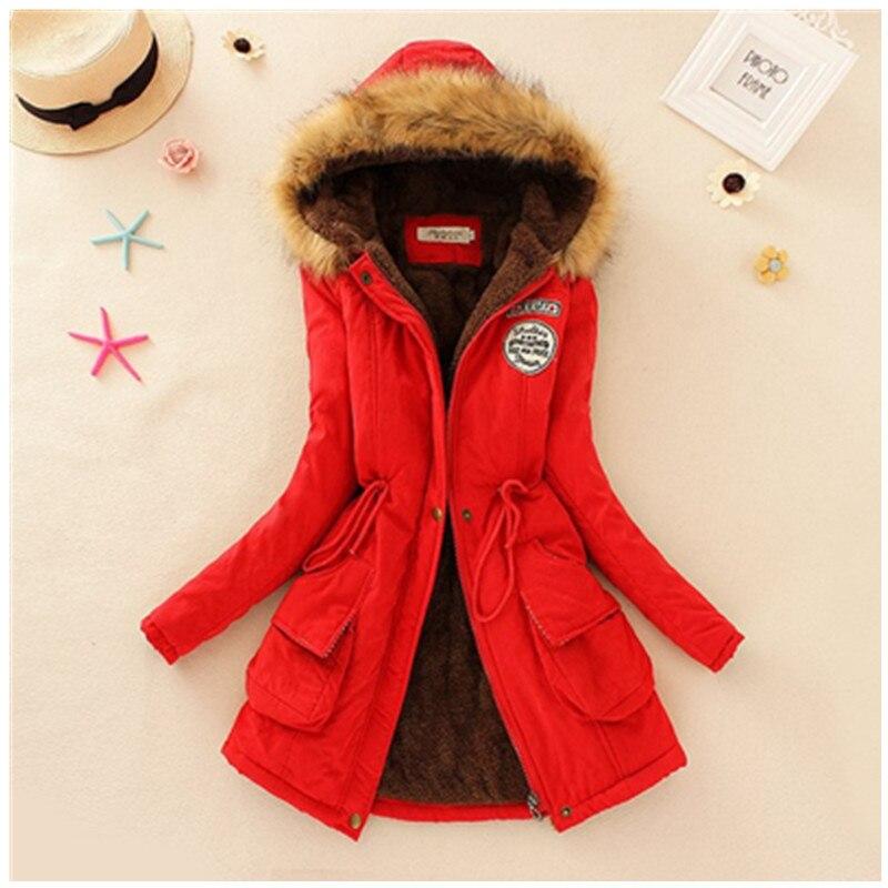 2019 Winter New Women's Hooded Fur Collar Waist And Velvet Thick Warm Long Cotton Coat Jac