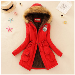 2019 Winter New Women's Hooded Fur Collar Waist And Velvet Thick Warm Long Cotton Coat Jacket Coat(China)