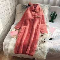Fashionable women single breasted long section imitation velvet sweater thick coat winter new loose super fire Faux velvet coat