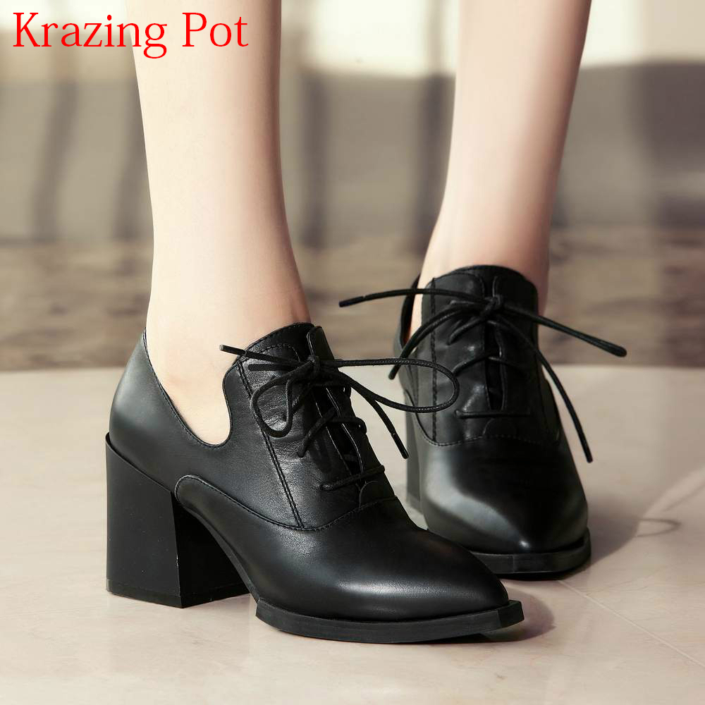 2019 Fashion Streetwear Genuine Leather Lace Up Classics Pointed Toe High Heels British School Office Lady
