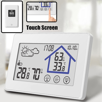 LED Digital Clock Touchscreen Weather Station Thermometer Indoor Outdoor Sensor Transmitter Temperature Humidity Wall Clock Desk