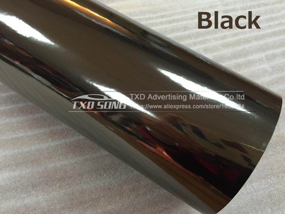 Высокая растягивающаяся Водонепроницаемая УФ-защита темно-синяя Хромовая зеркальная виниловая пленка, рулонная пленка для автомобиля, наклейка, лист - Название цвета: BLACK