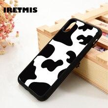 Iretmis 5 5S SE 6 6S funda de teléfono de silicona TPU suave funda para el iPhone 7 8 plus X Xs 11 Pro Max XR piel de vaca manchada