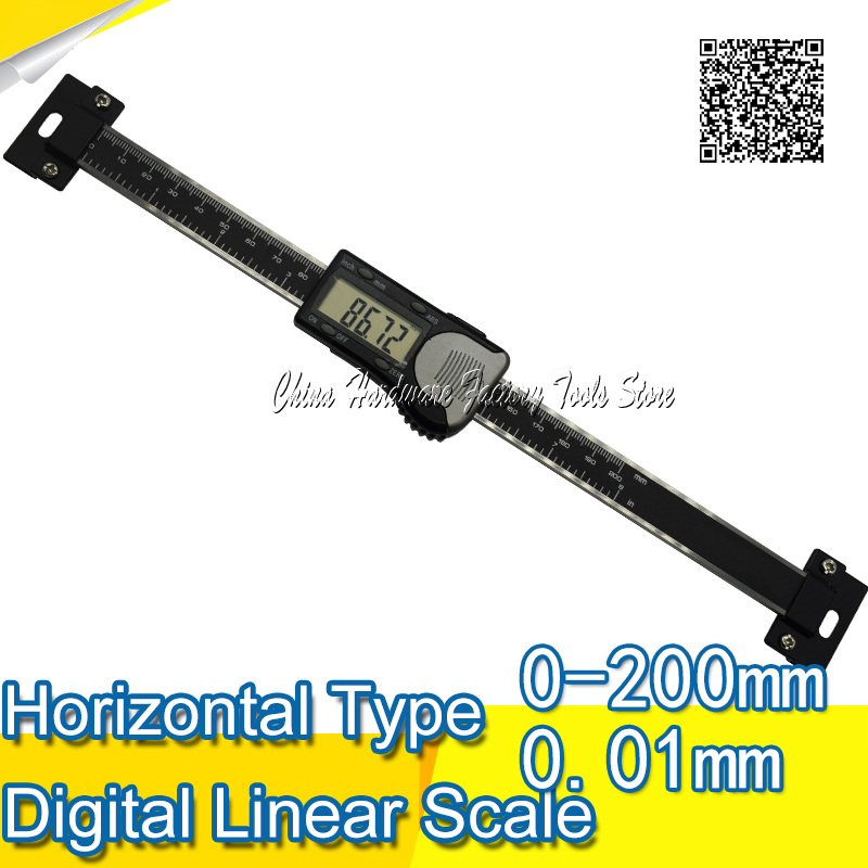 Free Shipping 0 200mm High Accuracy stainless steel Black Horizontal Scale Type Electronic Digital Caliper Measuring Tool