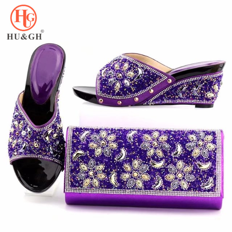 2018 Latest Africa Elegant Woman Shoes And Matching Bag Set Italian Rhinestone High Heels Wedding Shoes And Purse Set For Party capputine italian fashion design woman shoes and bag set european rhinestone high heels shoes and bag set for wedding dress g40