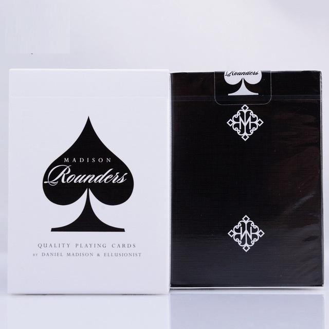 1 unids Rounders Madison Ellusionist Negro/Blanco Cubierta de la Alta Calidad Mágica Tarjetas Playing Card Poker Close Up Magia de Escenario trucos Props