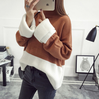 Onesize Korean version of the solid color knit long-sleeved hedging casual loose thickened womens sweaters YYFS 20171207-2