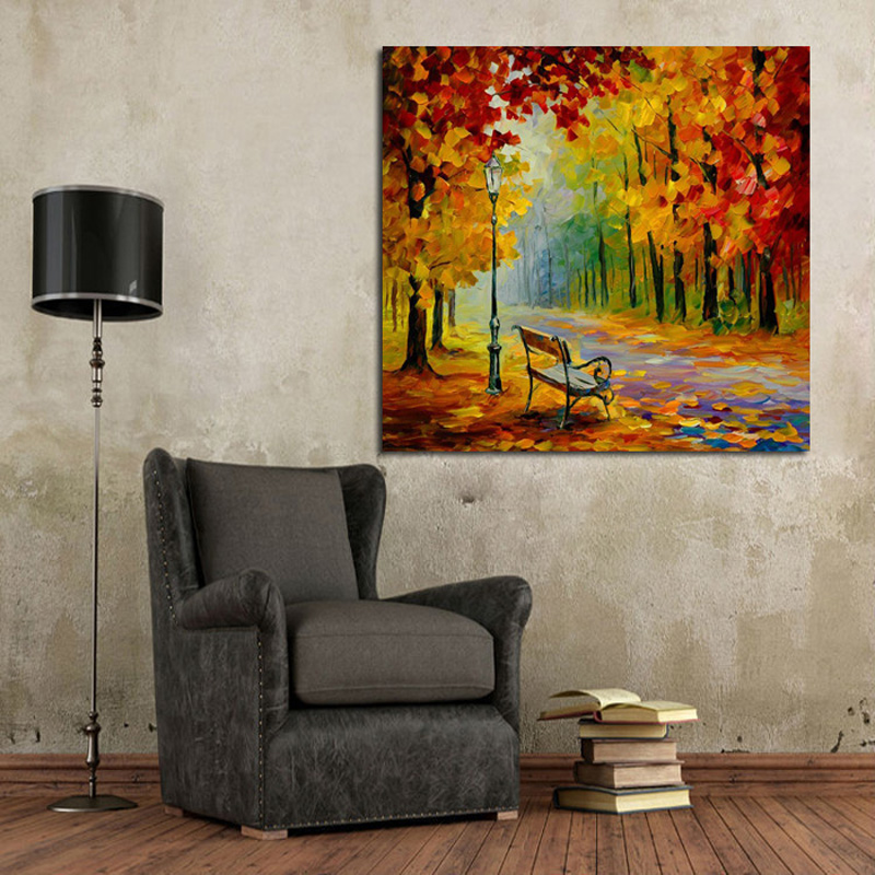 Decorative Canvas Oil Painting Canvas Beautiful Autumn Forest Street Wall Art Modern Knife Oil Painting Home Decor No Frame in Painting Calligraphy from Home Garden