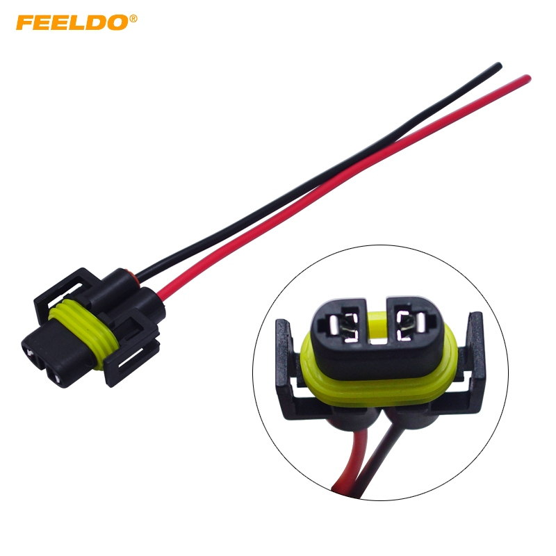 feeldo 1pc h11 female adapter wiring harness sockets car. Black Bedroom Furniture Sets. Home Design Ideas