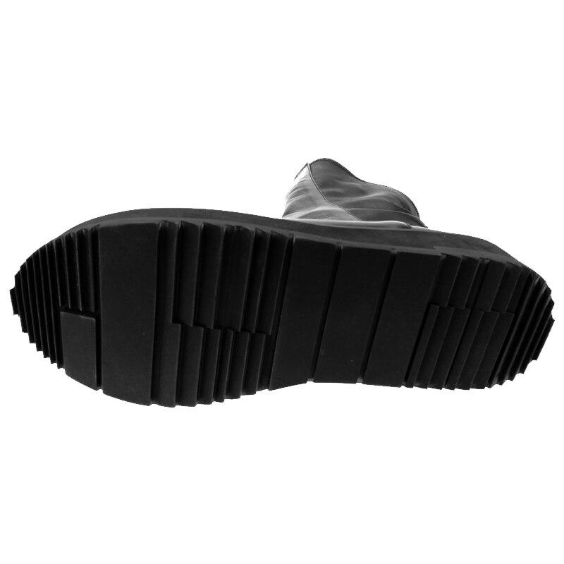 Gótico On Genuino Combate Punta Para Martin De Cuero La Calzado Black Redonda Vaquero Retro Zapatos Botas Punk Slip Motocicleta Hombre vwqx1CqS