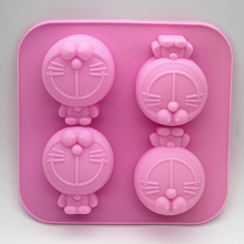 Silicone cookies baking mold 4 cavity Doraemon shape soap Chocolate mold Fondant cake mould clay mold Free shipping
