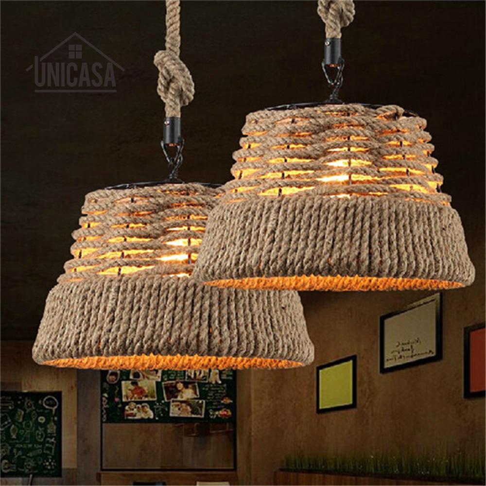 Retro pendant lights Loft Vintage ceiling Lamp Antique for home Art decoration Hand Knitted Hemp Rope iron Light  Bar lighting ключ комбинированный 12 гранный force f 755a