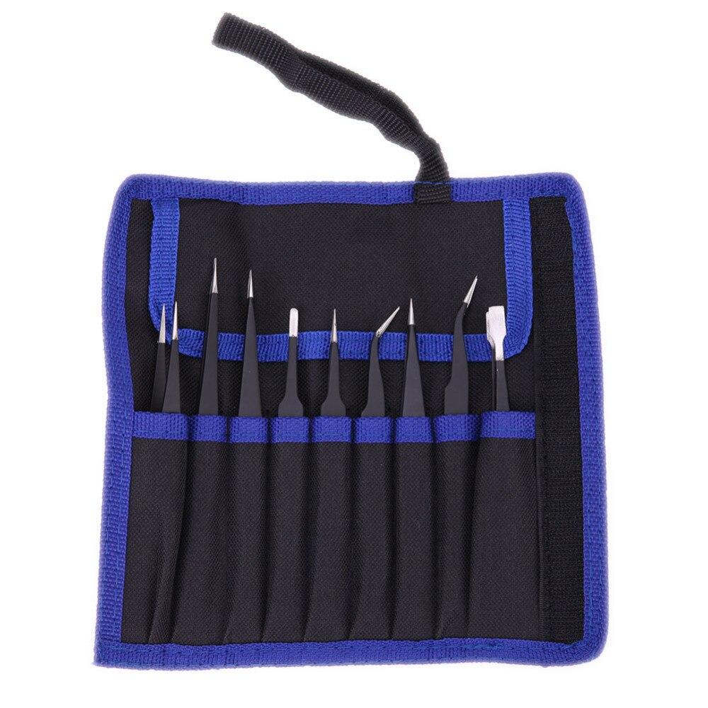 9 teile/paket ESD Pinzette Set Edelstahl Anti-statische Präzision Pinzette für Elektronische Handy Reparatur Tools Kit nicht -slip