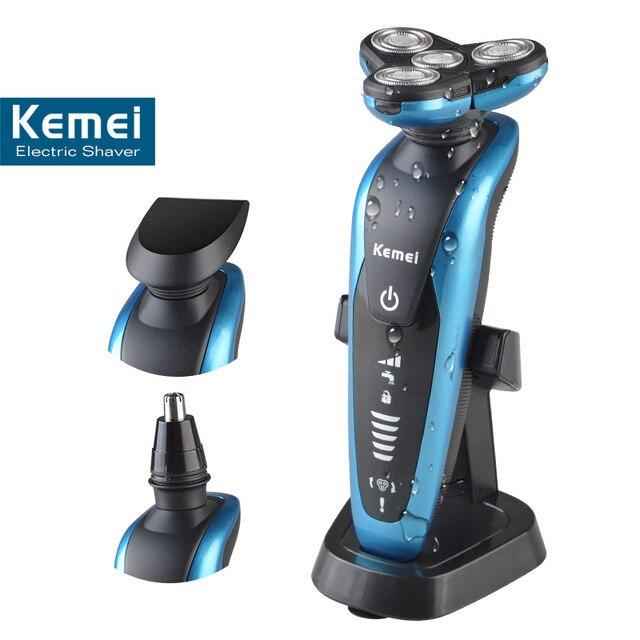 T123 kemei <font><b>3</b></font> in 1 washable rechargeable electric shaver men shaving machine nose trimmer barbeador 3D beard shaver razor