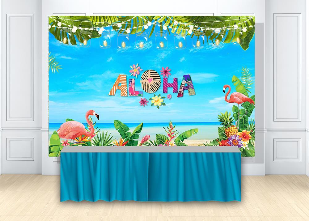 Huayi Summer Aloha Luau Party Backdrop For Girl Birthday Party Decoration Tropical Leaves Hawaiian Beach Photo Background W 2117