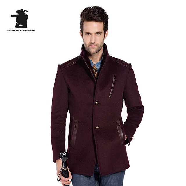 winter new mens wool pea coat designer high quality plus size wool coat for men pull homme 3 colors D42F3203
