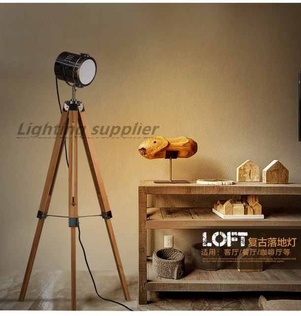 New American retro tripod wooden LED Floor lamp Creative simplicity Study bedroom living room lights