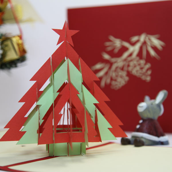 Cristmas Tree Cards 3d Pop Up Navidad Noel Decoration Gift Thankyou
