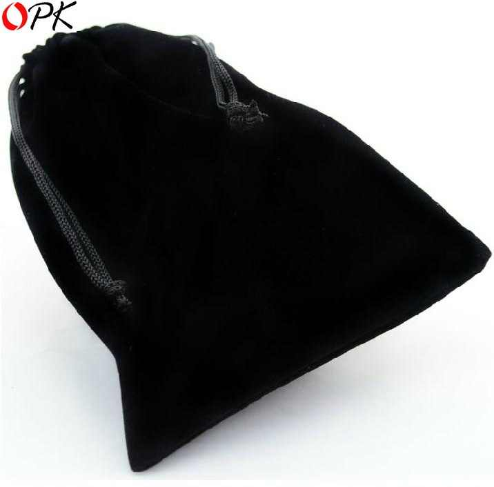 OPK JEWELRY Hot Selling Wholesale Black Drawstring Velvet Pouch Bag for Jewelry Size 3.5 inch X 2.7 inch, 170