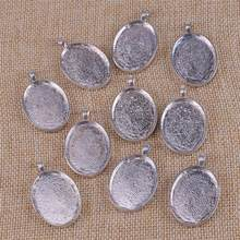 High Quality 10pcs 30mm Alloy Oval Pendant Tray Antique Silver Blank Bezel Base Charm For DIY Cabochon Setting Jewelry Making(China)