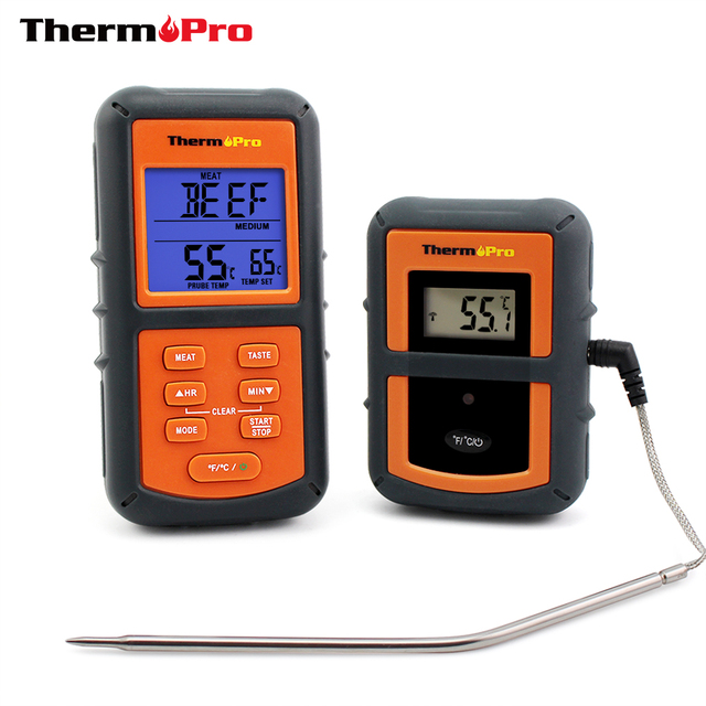 ThermoPro TP-07 100M Range Wireless Food Thermometer Remote BBQ, Smoker, Grill, Oven, Meat Thermometer with Timer