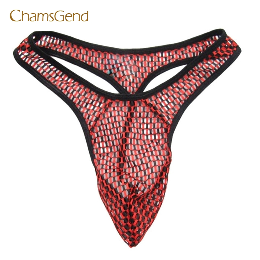 Chamsgend Coolbeener 1PC Sexy G String Men's Thong Underwear Gauze Perspective Lattice Thong mar15
