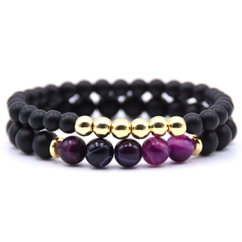 Bracelet couple longue distance violet