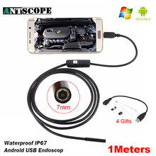 Antscope 7mm/5.5mm 1M Endoscope Mirco USB 2m 6LED Endoscope Camera Android Waterproof Pipeline PCB PC Inspection Mini Camera(China)