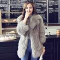 Nuevo Estilo de Corea Moda Otoño Invierno Faux Fur Abrigos Con Cinturón mujeres Blanco Delgado Hembra Abrigo de Piel chaqueta de piel falsa gilet fourrure