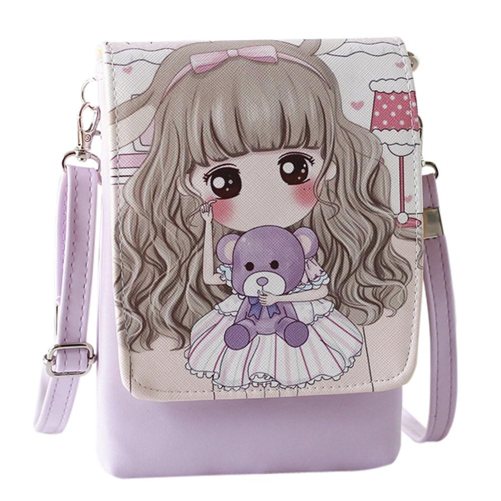 Women Character Leather Handbags Kids Girls Cute Coin Wallet Mini Phone Bags Shoulder Bags Pouches bolsa feminina