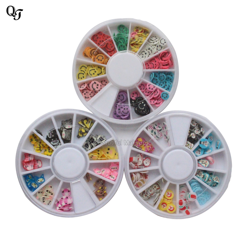 Fashion 1 Box 12 Colors Happy Face Design Lovely Nail Art Decoration 3D  Colorful Nail Decals - Compare Prices On Happy Design Nails- Online Shopping/Buy Low