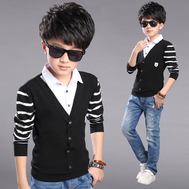 T para meninos roupas de bebê 2016 de abertura de cama colar de meninos uniforme escolar de manga comprida t-shirt 4 - 12 Y