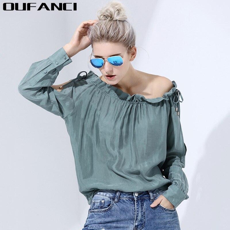 OUFANCI seda de manga Larga camisa de la blusa mujeres tops Boho off top crop ho