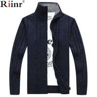 Riinr 2017 New Arrival Casual Mens Knitted Sweaters Brand Autumn And Winter Fashion Striped Style Solid