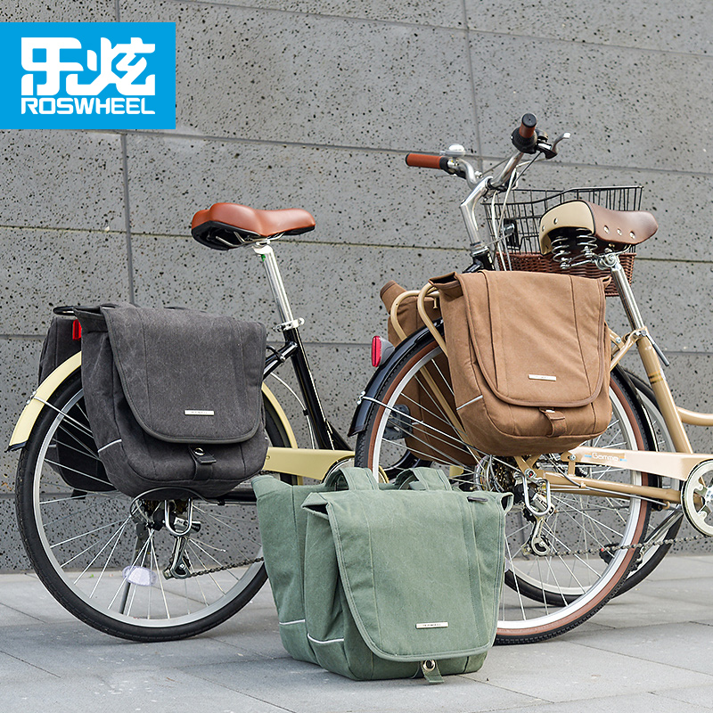 ROSWHEEL Cycling Bag Brand 20L Retro Canvas Bicycle Bag Panniers Basket Mountain Bike Bag City Rack Trunk Bag Bicycle Accessorie rockbros bicycle rack bag full waterproof high capacity mountain bike accessories cycling rear basket panniers bike luggage bags