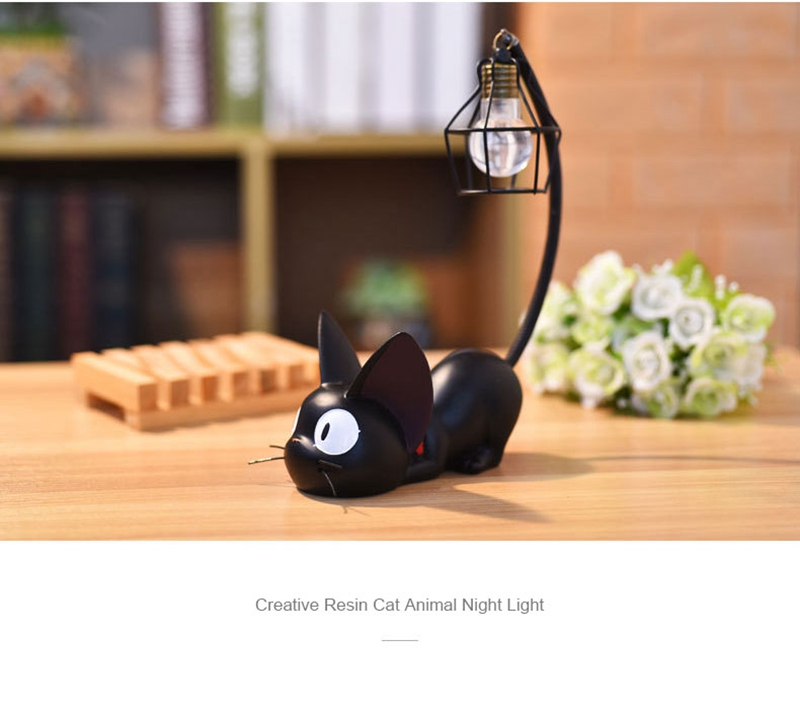 LED Night Light Creative Resin Cat Animal Night Light Ornaments Home Decoration Gift Small Cat Night Lamp (7)