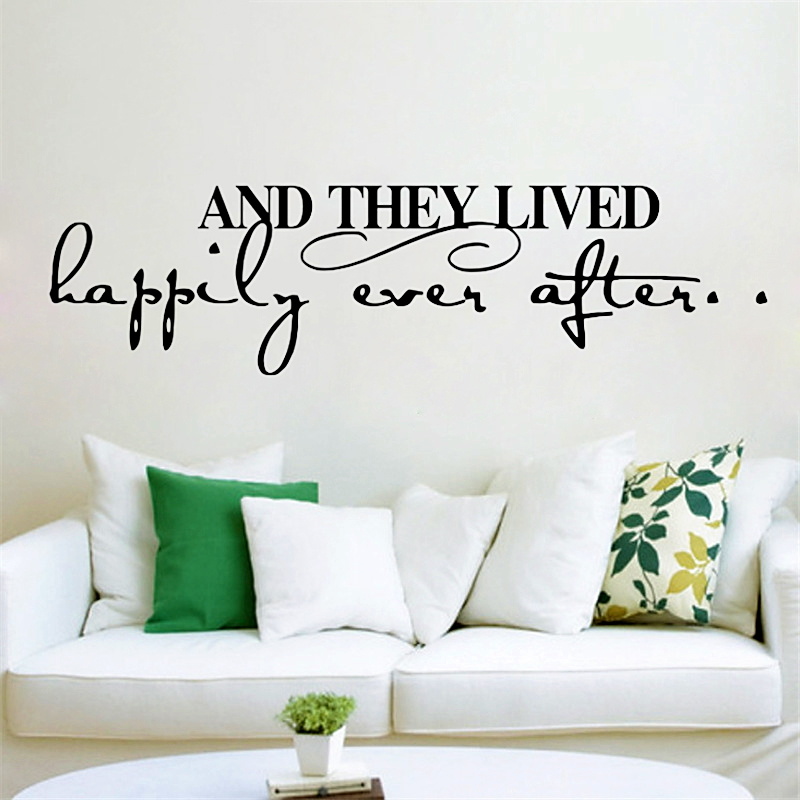 And They Lived Happily Ever After Inspirational Quotes Wall Stickers Home Decor Living Room Diy Wall Decals Vinyl Mural Art