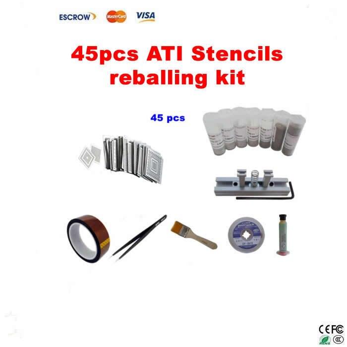 Direct Heat Stencils ATI Video chips 45pcs + stencil holder + solder ball + ESD tweezer + brush + high temperature tape + flux  промышленная машина ly 10 bga 0 25 0 3 0 35 0 4 0 45 0 5 0 55 0 6 0 65 0 76 direct heat stencil 10 pcs