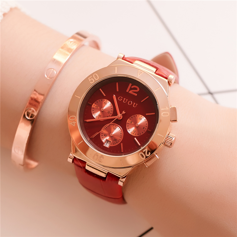 GUOU 2017 Luxury Rose Gold Womens Watch Waterproof Fashion Casual Ladies Quartz Wrist Watches Women Clock relogio feminino Blue 2016new futuristic luxury men women black waterproof fashion casual military quartz hot brand sports watches relogios wristwatch
