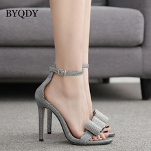 BYQDY 2019 New Silver Rhinestone Sandals Open Toe Thin High Heels Women Shoes Cover Heel Ankle Strap Buckle Female Sandals Shoes