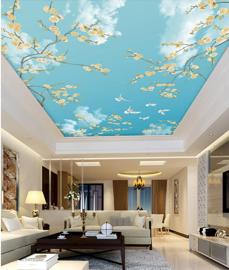 Custom photo 3d room wallpaper for walls 3 d ceiling murals Non-woven blue sky dove birds and flowers decoration painting blue sky чаша северный олень