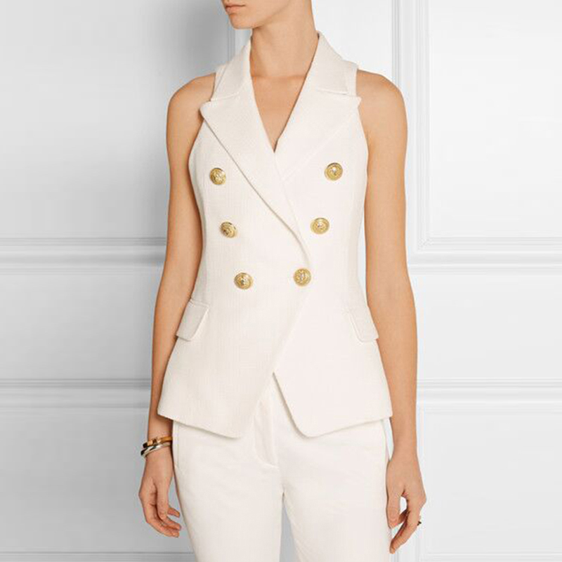 HIGH QUALITY New Fashion 2018 Career Style Women s Gold Buttons Double Breasted Vest Outerwear White