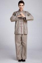 Винтаж коричневый китайский Для мужчин кунг-фу форма льняной костюм с длинным рукавом Костюмы Размеры м до XXXL 2516