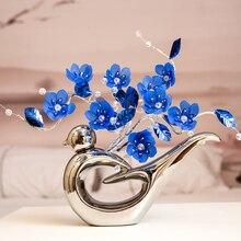 цена на Fashion modern Crystal flower ceramic silver vase decoration Crafts ornament high grade crystal Wedding home decoration Gifts