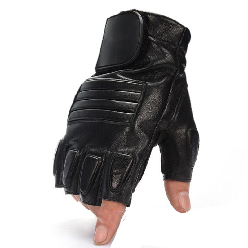 Men's Half Finger Genuine Leather Sheepskin Riding Motorcycle Gloves Winter Sport Warm Army Military Tactical Driving Gloves S63